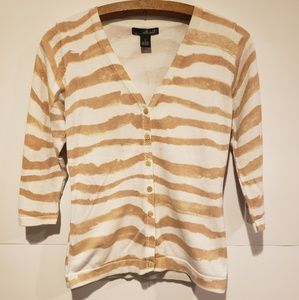 Willi Smith 3/4 Sleeved Striped Cardigan